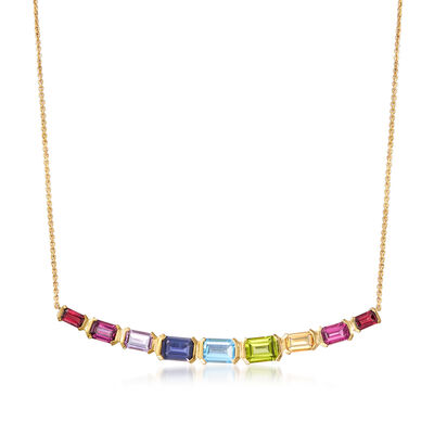 5.40 ct. t.w. Multi-Gemstone Necklace in 18kt Gold Over Sterling, , default