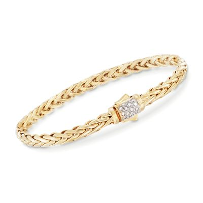 "Phillip Gavriel ""Woven Gold"" .13 ct. t.w. Pave Diamond Link Bracelet in 14kt Yellow Gold"