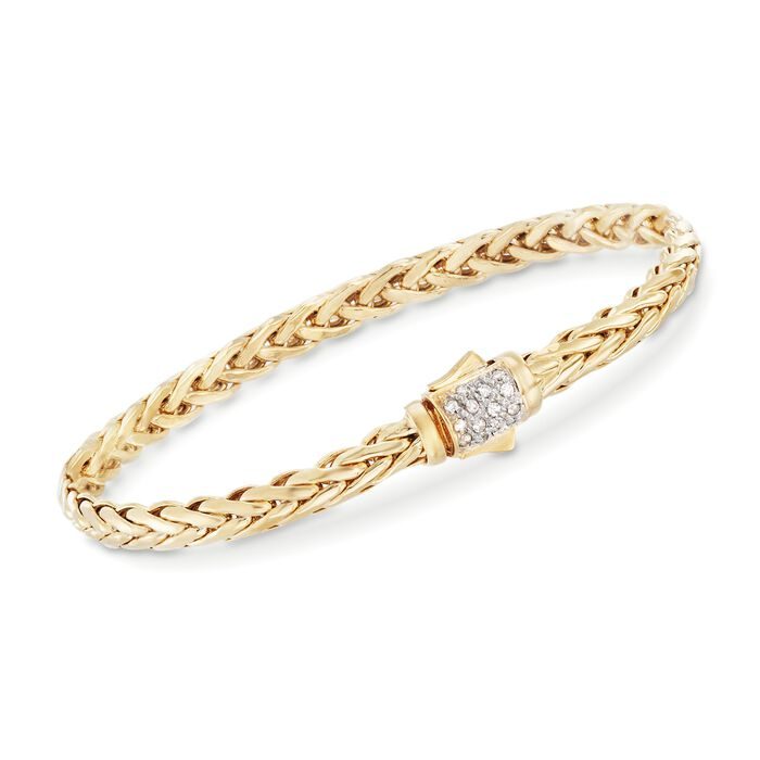 "Phillip Gavriel ""Woven Gold"" .13 ct. t.w. Pave Diamond Link Bracelet in 14kt Yellow Gold. 7.5"", , default"