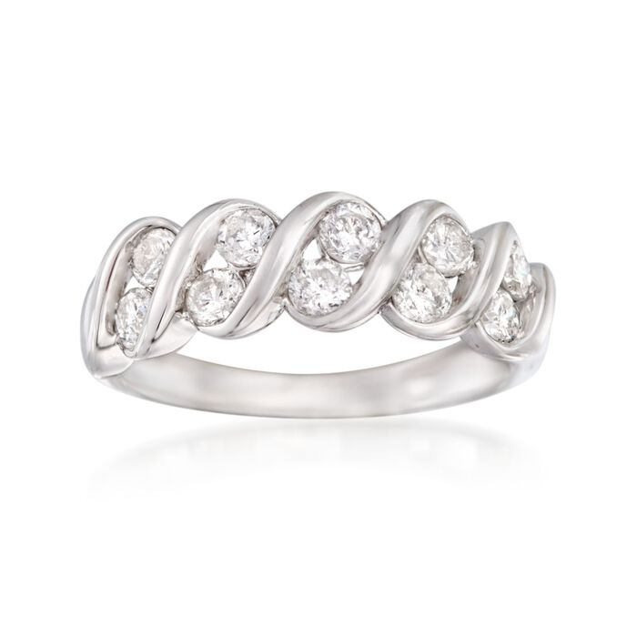 1.00 ct. t.w. Diamond Spiral Ring in 14kt White Gold, , default