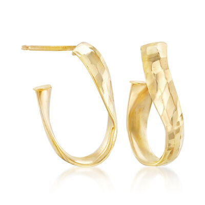 Italian 14kt Yellow Gold Curved Hoop Earrings, , default