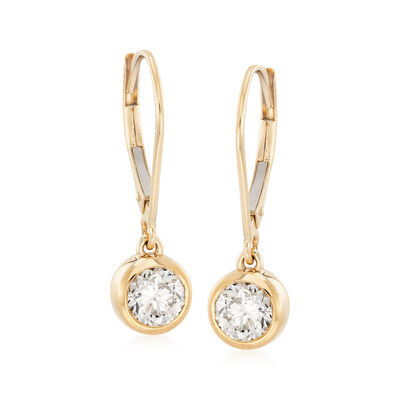 1.00 ct. t.w. Diamond Bezel-Set Drop Earrings in 14kt Yellow Gold