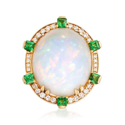 Ethiopian Opal, .50 ct. t.w. Tsavorite and .32 ct. t.w. Diamond Ring in 18kt Yellow Gold, , default