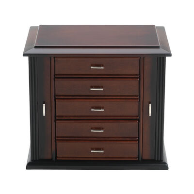"Reed & Barton ""Diva"" Dark Mahogany Jewelry Box"