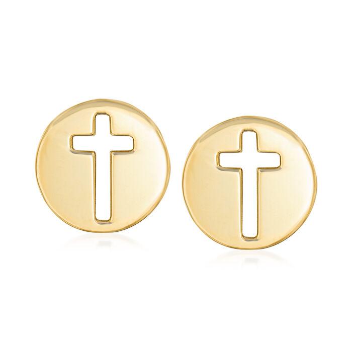 Italian 14kt Yellow Gold Cut-Out Cross Stud Earrings