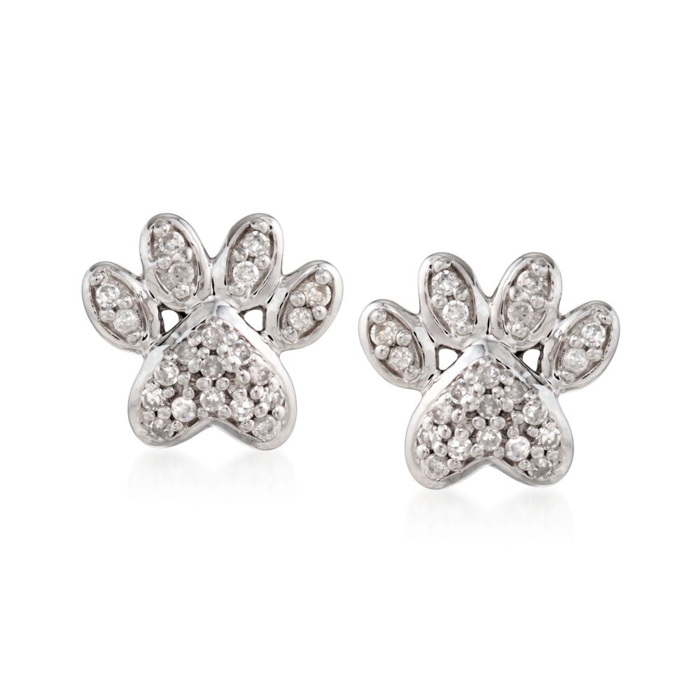 T W Diamond Paw Print Stud Earrings In Sterling Silver Default