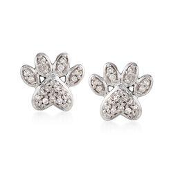 .10 ct. t.w. Diamond Paw Print Stud Earrings in Sterling Silver, , default