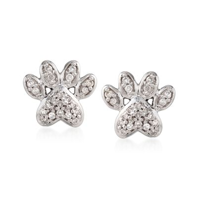 .10 ct. t.w. Diamond Paw Print Stud Earrings in Sterling Silver, , default
