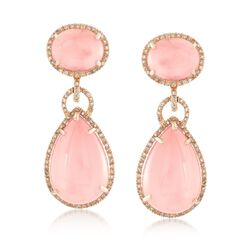 Rose Quartz Doublet Drop Earrings With .53 ct. t.w. Diamonds in 18kt Rose Gold , , default