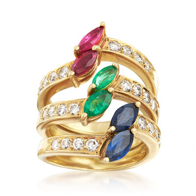 C. 1990 Vintage 2.85 ct. t.w. Multi-Gemstone Jewelry Set: Three Rings in 18kt Yellow Gold, , default