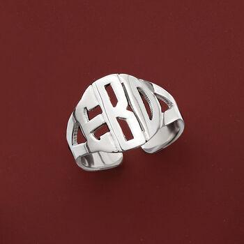 Sterling Silver Circular Block Monogram Ring