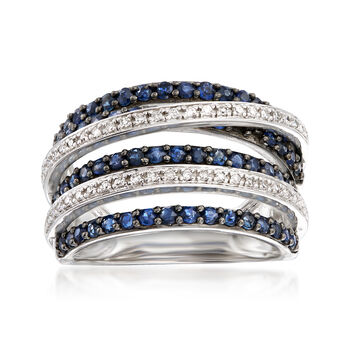 1.00 ct. t.w. Sapphire and .15 ct. t.w. Diamond Highway Ring in Sterling Silver, , default