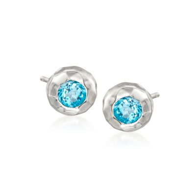 "Zina Sterling Silver ""Ripples"" 1.00 ct. t.w. Blue Topaz Stud Earrings"