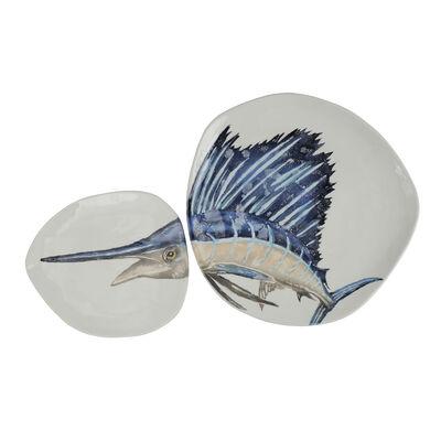 """Vietri """"Pesca"""" Blue Marlin Dish Set from Italy"""