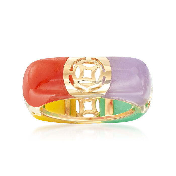 Multicolored Jade and Cutout Symbol Ring in 14kt Yellow Gold. Size 9