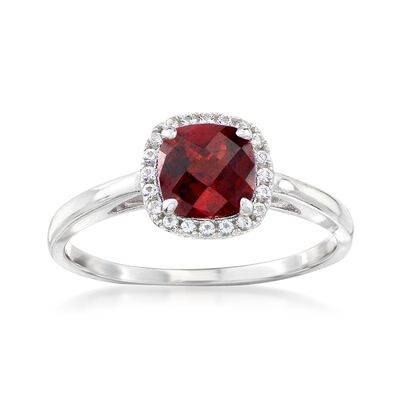 1.10 Carat Garnet and .10 ct. t.w. White Topaz Ring in Sterling Silver, , default