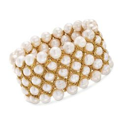 8.5-9mm Cultured Pearl Bracelet With Goldtone Threaded Framework, , default
