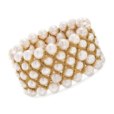8.5-9mm Cultured Pearl Bracelet With Goldtone Threaded Framework, , default