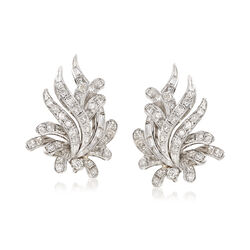 C. 1980 Vintage 1.90 ct. t.w. Round and Baguette Diamond Cluster Earrings in 18kt White Gold , , default