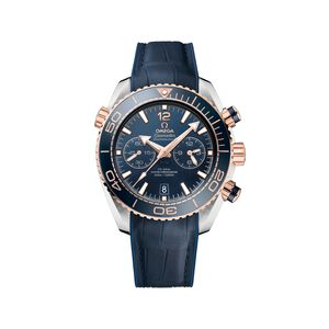 Omega Seamaster Planet Ocean Men's 45.5mm 18kt Rose Gold Watch with Blue Dial and Leather Strap #SMTX14