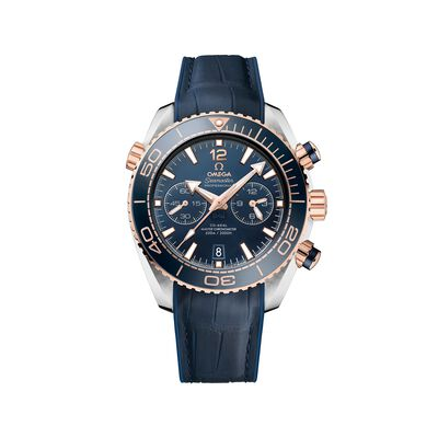 Omega Seamaster Planet Ocean Men's 45.5mm 18kt Rose Gold Watch with Blue Dial and Leather Strap