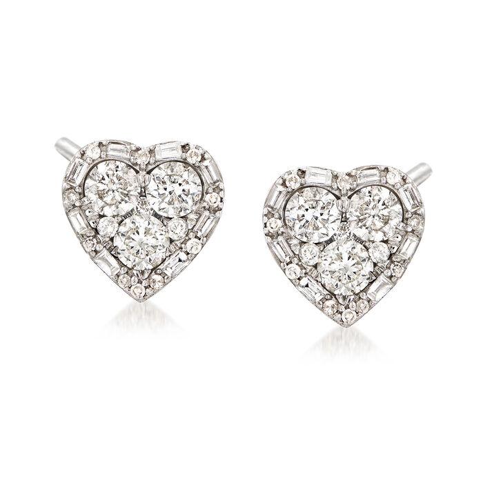 1.20 ct. t.w. Diamond Heart Earrings in 14kt White, , default