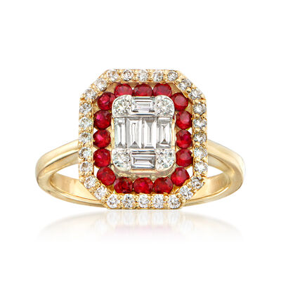 .48 ct. t.w. Diamond and .45 ct. t.w. Ruby Ring in 14kt Yellow Gold, , default