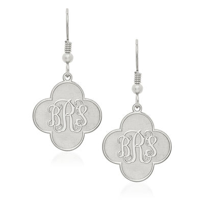 14kt White Gold Polished Clover Monogram Dangle Earrings, , default