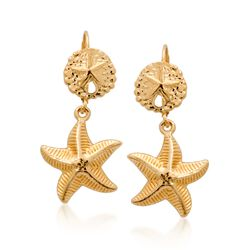 14kt Yellow Gold Sand Dollar and Starfish Drop Earrings, , default