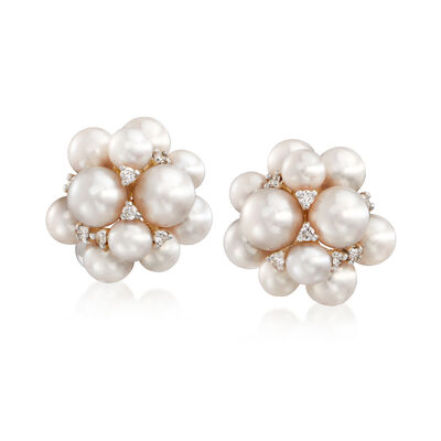 4-6mm Cultured Freshwater Pearl Cluster Earrings with .17 ct. t.w. Diamonds in 14kt Yellow Gold, , default