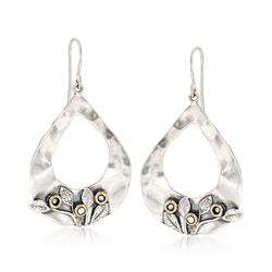 Sterling Silver and 14kt Yellow Gold Open Teardrop Floral Earrings With Cultured Pearls , , default