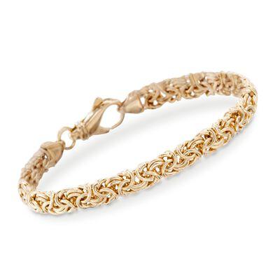 18kt Gold Over Sterling Silver Small Byzantine Bracelet, , default