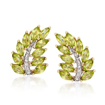 5.25 ct. t.w. Peridot and .11 ct. t.w. Diamond Leaf Earrings in 14kt Gold Over Sterling Silver