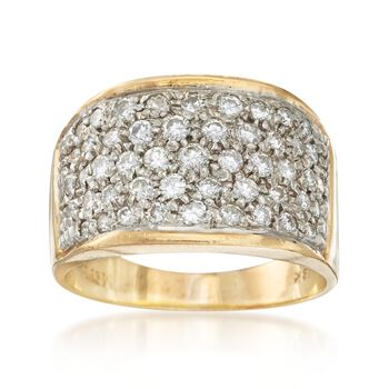 C. 1980 Vintage 1.10 ct. t.w. Pave Diamond Ring in 18kt Yellow Gold. Size 8, , default