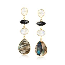 Labradorite and Moonstone Drop Earrings With Black Onyx in 18kt Gold, , default