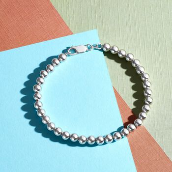 Italian 6mm Sterling Silver Polished Bead Bracelet, , default