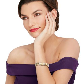 "C. 1990 Vintage 1.00 ct. t.w. Pave Diamond Heart Cuff Bracelet in 14kt Two-Tone Gold. 6.5"", , default"