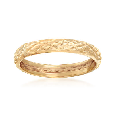 18kt Yellow Gold Quilted Textured Ring, , default