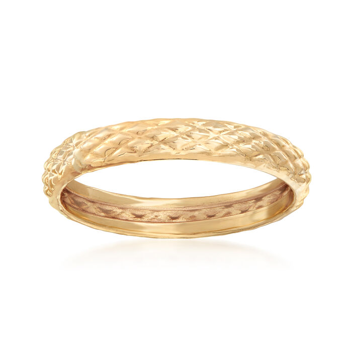 18kt Yellow Gold Quilted Textured Ring