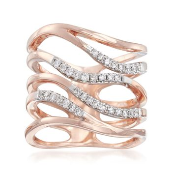 .30 ct. t.w. Diamond Multi-Row Ring in 14kt Rose Gold. Size 7, , default