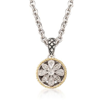Andrea Candela Diamond Accent Floral Pendant with Chain in 18kt Yellow Gold and Sterling Silver, , default