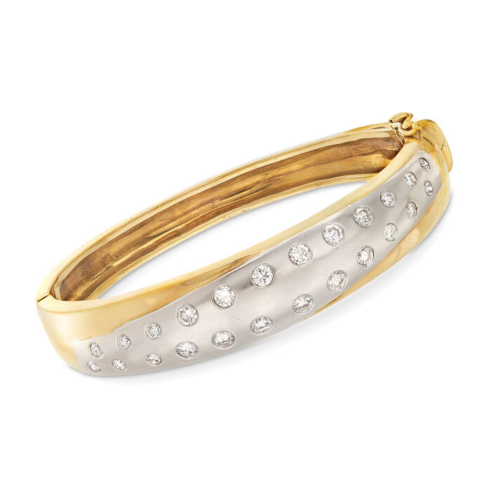 "C. 1990 Vintage 1.85 ct. t.w. Diamond Bangle Bracelet in 18kt Two-Tone Gold. 7"", , default"