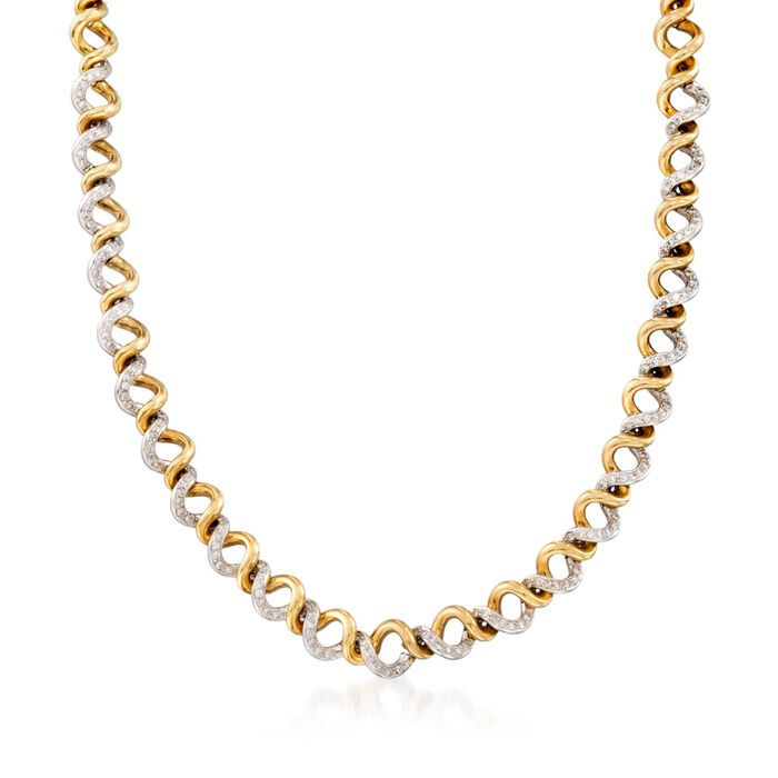 "C. 1990 Vintage 2.10 ct. t.w. Diamond Spiral Necklace in 18kt Two-Tone Gold. 17"", , default"