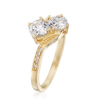 1.00 ct. t.w. CZ Two-Stone Ring in 14kt Gold Over Sterling, , default