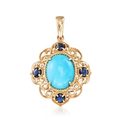 Sleeping Beauty Turquoise and .40 ct. t.w. Sapphire Pendant in 14kt Yellow Gold, , default