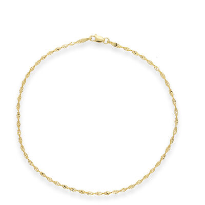 14kt Yellow Gold Dorica Chain Anklet, , default