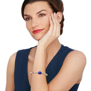 Bezel-Set Lapis Bangle Bracelet in Sterling Silver, , default