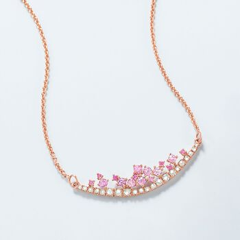 ".50 ct. t.w. Pink Sapphire and .29 ct. t.w. Diamond Curved Bar Necklace in 14kt Rose Gold. 16"", , default"