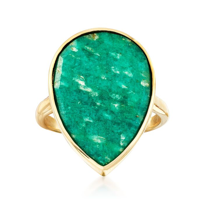 Amazonite Ring in 18kt Yellow Gold Over Sterling Silver