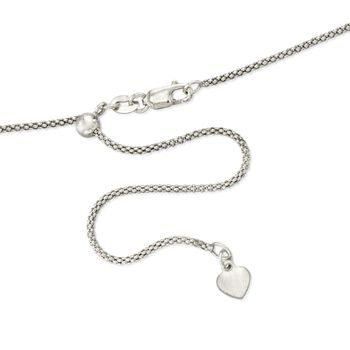 "1.2mm 14kt White Gold Adjustable Popcorn Chain Necklace. 22"", , default"
